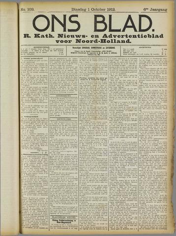 Ons Blad : katholiek nieuwsblad voor N-H 1912-10-01