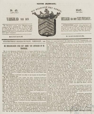 Weekblad van Den Helder en het Nieuwediep 1847-11-08