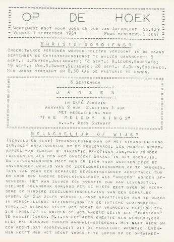 Op De Hoek, weekblad voor Akersloot 1961-09-01