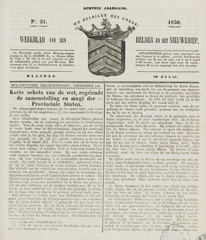 Weekblad van Den Helder en het Nieuwediep 1850-07-29