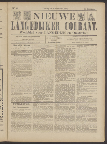 Nieuwe Langedijker Courant 1894-11-11