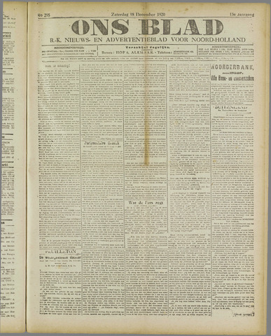 Ons Blad : katholiek nieuwsblad voor N-H 1920-12-18