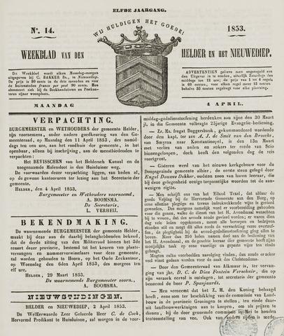 Weekblad van Den Helder en het Nieuwediep 1853-04-04