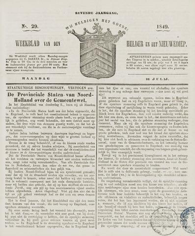 Weekblad van Den Helder en het Nieuwediep 1849-07-16
