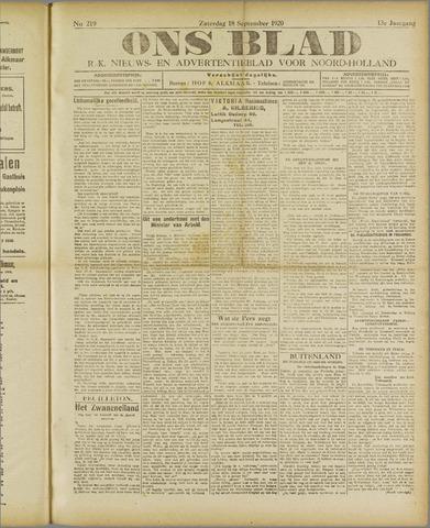 Ons Blad : katholiek nieuwsblad voor N-H 1920-09-18