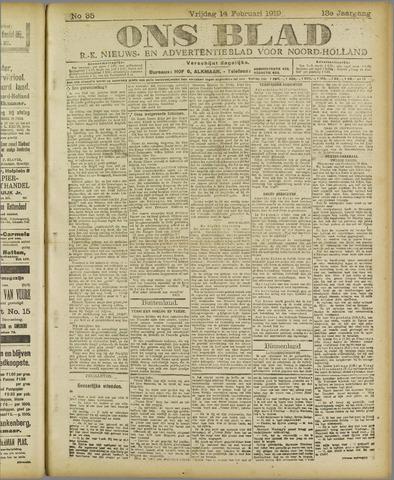 Ons Blad : katholiek nieuwsblad voor N-H 1919-02-14