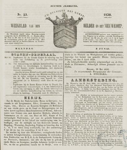 Weekblad van Den Helder en het Nieuwediep 1850-06-03