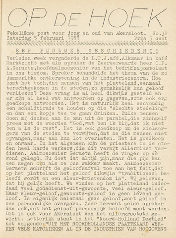 Op De Hoek, weekblad voor Akersloot 1955-02-05