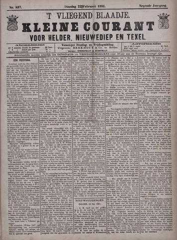 Vliegend blaadje : nieuws- en advertentiebode voor Den Helder 1881-02-22