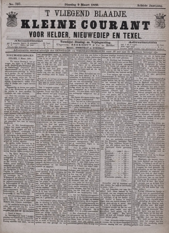 Vliegend blaadje : nieuws- en advertentiebode voor Den Helder 1880-03-09