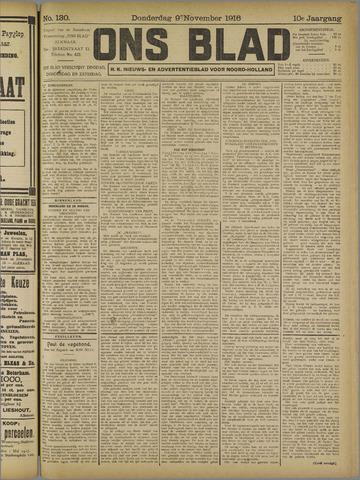 Ons Blad : katholiek nieuwsblad voor N-H 1916-11-09