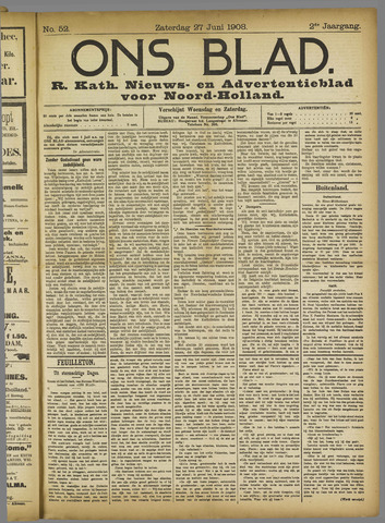 Ons Blad : katholiek nieuwsblad voor N-H 1908-06-27