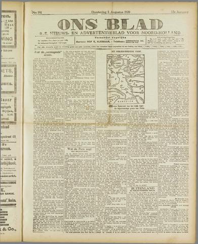 Ons Blad : katholiek nieuwsblad voor N-H 1920-08-05
