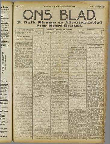 Ons Blad : katholiek nieuwsblad voor N-H 1911-11-22