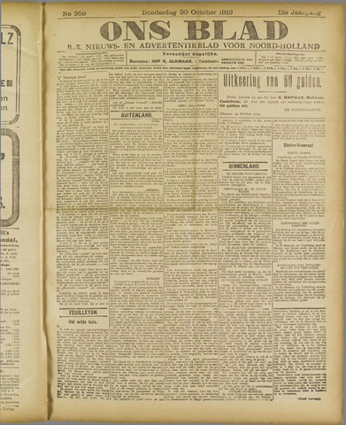 Ons Blad : katholiek nieuwsblad voor N-H 1919-10-30
