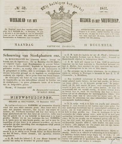 Weekblad van Den Helder en het Nieuwediep 1857-12-21
