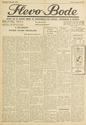 Flevo-bode: nieuwsblad voor Wieringen-Wieringermeer 1947-11-05