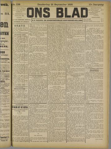 Ons Blad : katholiek nieuwsblad voor N-H 1916-09-21