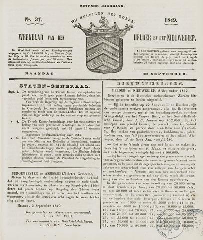 Weekblad van Den Helder en het Nieuwediep 1849-09-10