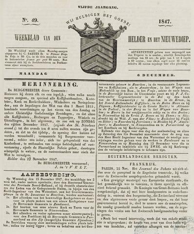 Weekblad van Den Helder en het Nieuwediep 1847-12-06
