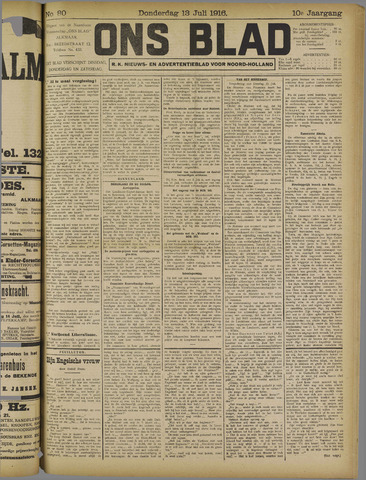 Ons Blad : katholiek nieuwsblad voor N-H 1916-07-13