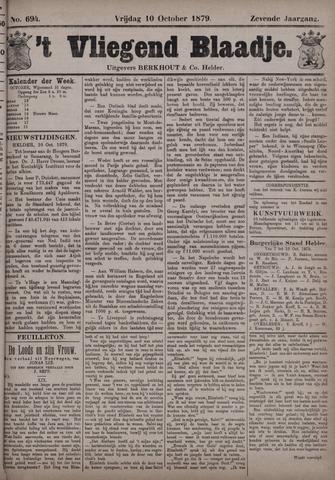 Vliegend blaadje : nieuws- en advertentiebode voor Den Helder 1879-10-10