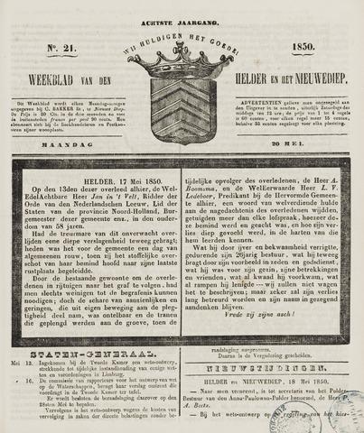Weekblad van Den Helder en het Nieuwediep 1850-05-20