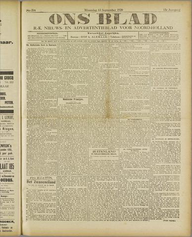 Ons Blad : katholiek nieuwsblad voor N-H 1920-09-13