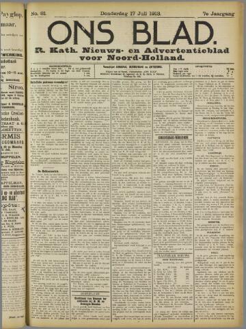 Ons Blad : katholiek nieuwsblad voor N-H 1913-07-17