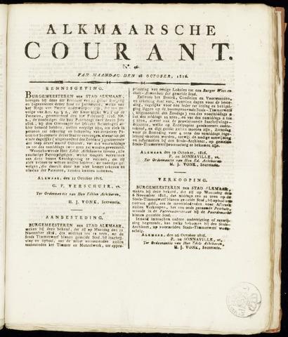 Alkmaarsche Courant 1816-10-28