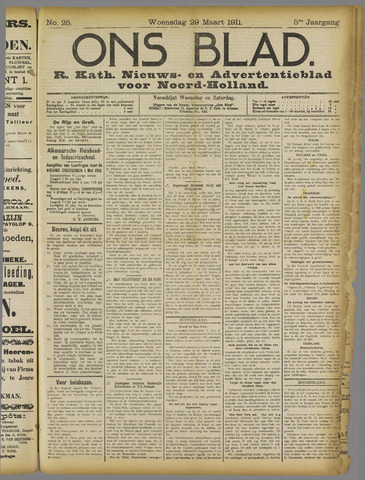 Ons Blad : katholiek nieuwsblad voor N-H 1911-03-29