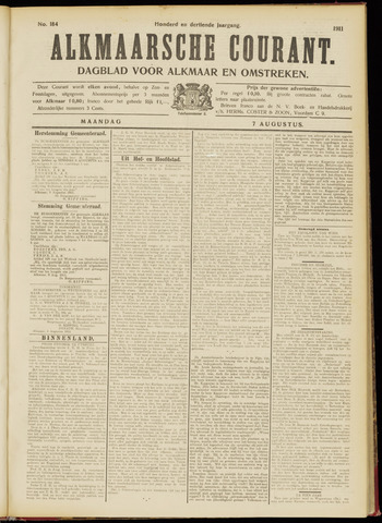 Alkmaarsche Courant 1911-08-07