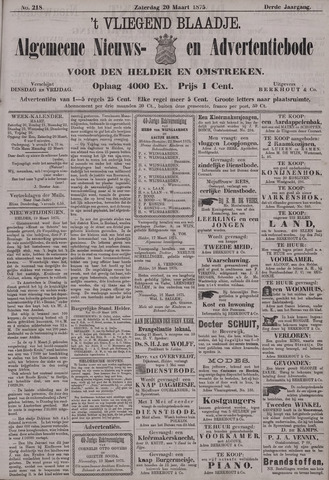 Vliegend blaadje : nieuws- en advertentiebode voor Den Helder 1875-03-20