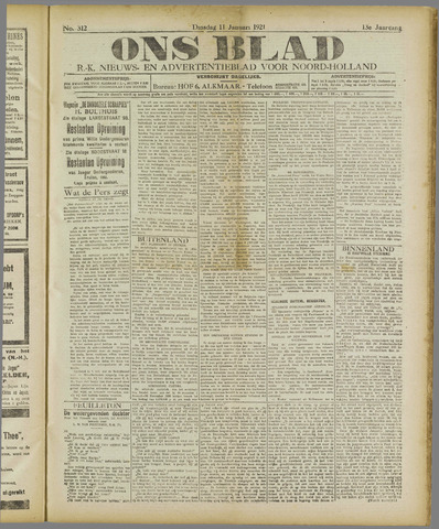 Ons Blad : katholiek nieuwsblad voor N-H 1921-01-11