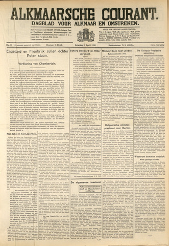 Alkmaarsche Courant 1939-04-01