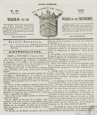 Weekblad van Den Helder en het Nieuwediep 1853-08-15