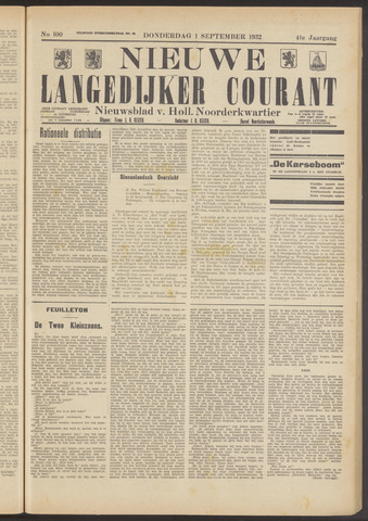 Nieuwe Langedijker Courant 1932-09-01