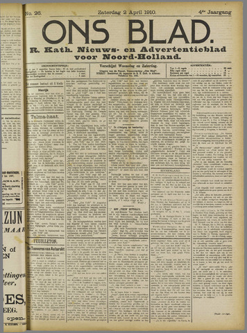 Ons Blad : katholiek nieuwsblad voor N-H 1910-04-02