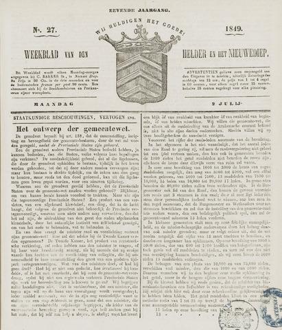 Weekblad van Den Helder en het Nieuwediep 1849-07-02