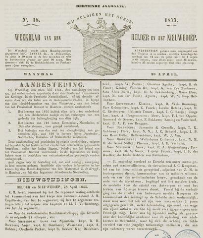 Weekblad van Den Helder en het Nieuwediep 1855-04-30