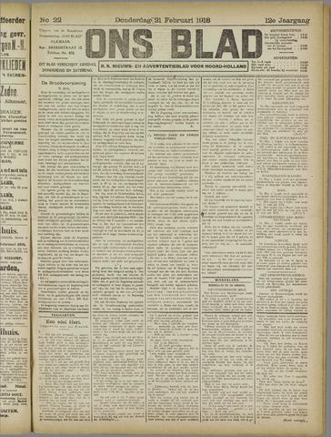 Ons Blad : katholiek nieuwsblad voor N-H 1918-02-21