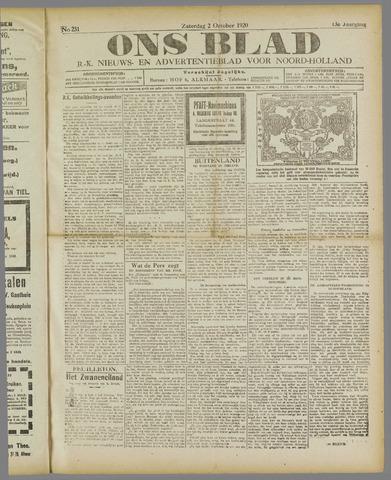 Ons Blad : katholiek nieuwsblad voor N-H 1920-10-02
