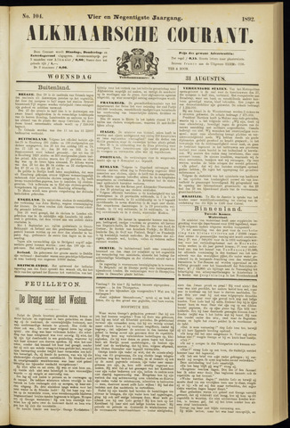 Alkmaarsche Courant 1892-08-31
