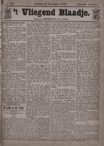 Vliegend blaadje : nieuws- en advertentiebode voor Den Helder 1879-11-25