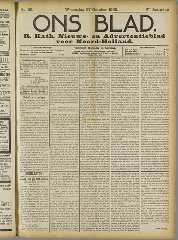 Ons Blad : katholiek nieuwsblad voor N-H 1909-10-27