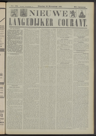 Nieuwe Langedijker Courant 1921-11-29