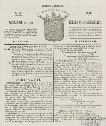 Weekblad van Den Helder en het Nieuwediep 1850-02-25