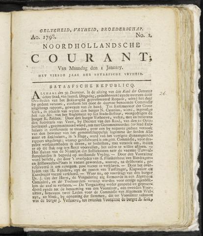 Noordhollandsche Courant 1798