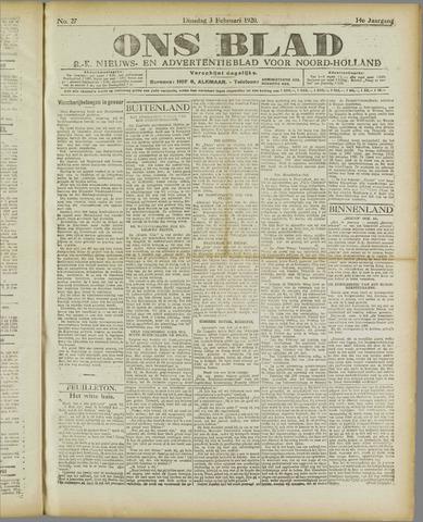 Ons Blad : katholiek nieuwsblad voor N-H 1920-02-03