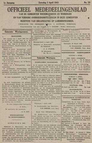 Mededeelingenblad Wieringermeer en Wieringen 1943-04-03